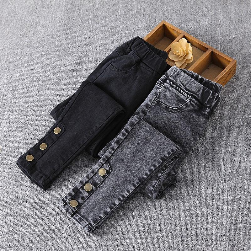 2020 Autumn Winter Teenage Children Girls Jeans Kids Elastic Waist Cute Pants New Skinny Jeans For Girls Casual Trousers K208