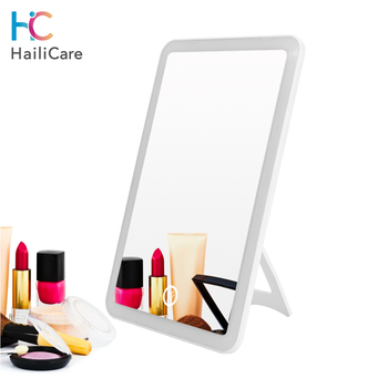 Touch Screen Makeup Mirror With LED Lights Professional Vanity Cosmetic Mirror Adjustable 180 Rotating Rechargeable Table Mirror