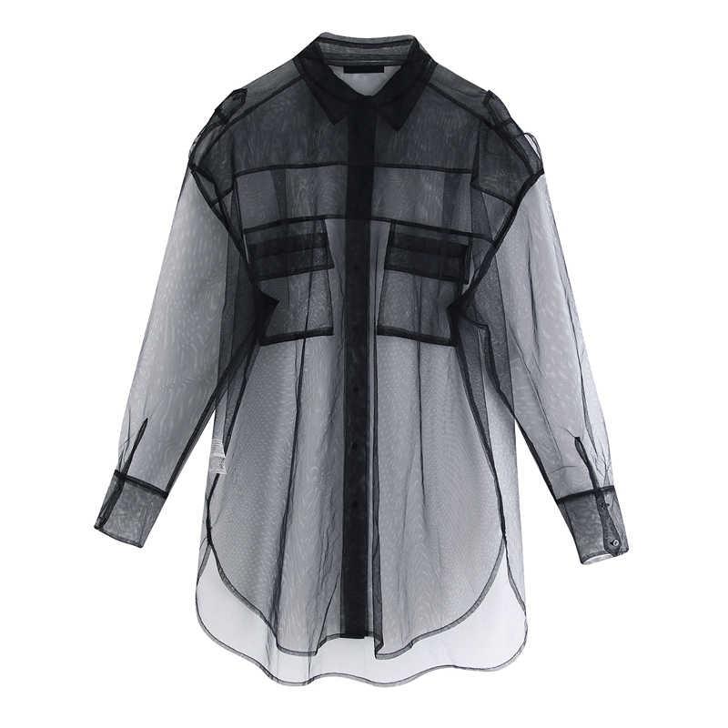 ZOEPO Effen Losse Blouses Vrouwen Mode Turn Down Kraag Shirts Vrouwen Elegante Zakken Perspectief Mesh Tops Vrouwelijke Dames JAE