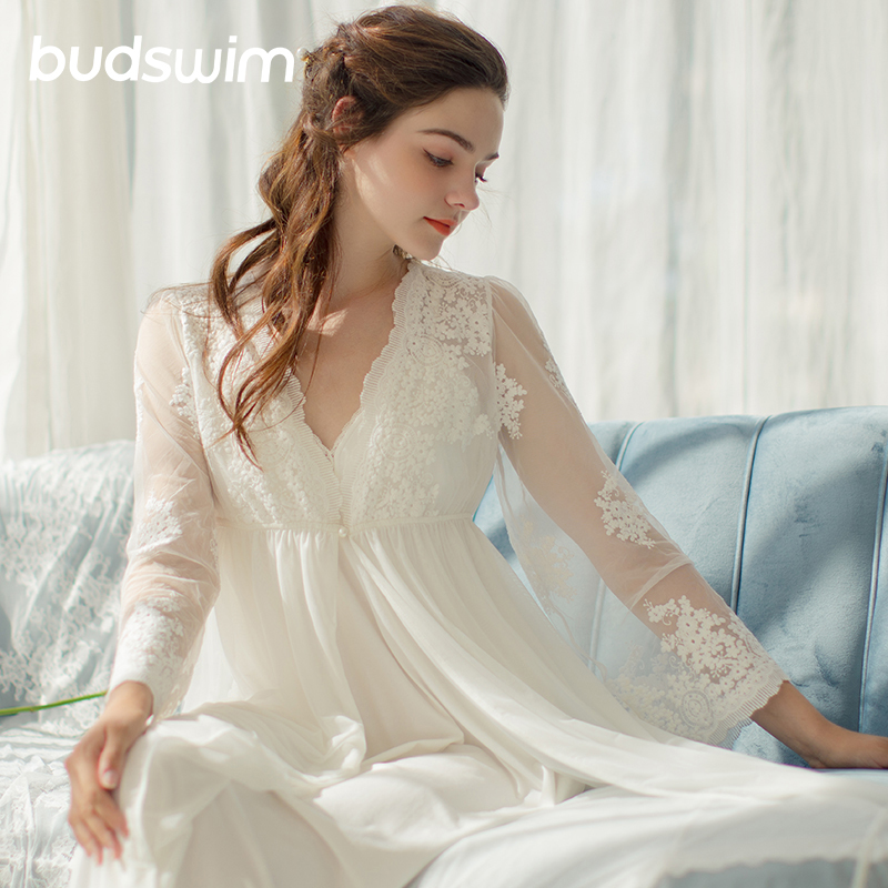 Bridesmaid Lace Robe Wedding Bride Women Sleepwear Nightwear   Embroidery Nighties For Women Nightgown Bridal Dress  Night Dress