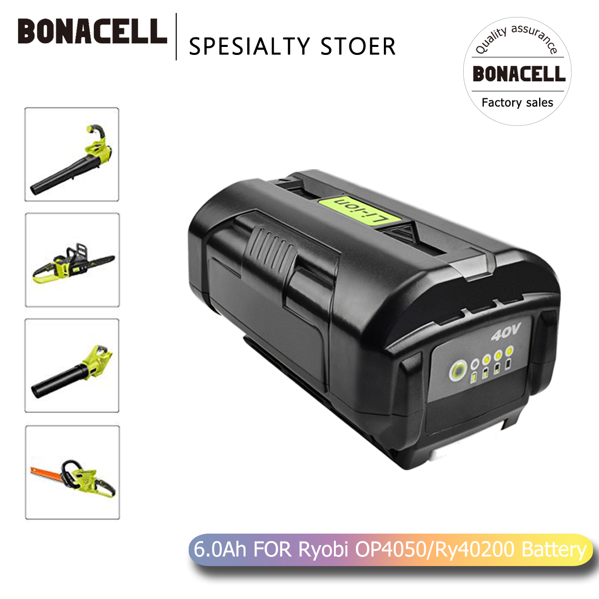 Bonacell 6000mAh 40V Li-ion Battery OP40401 OP4050A For Ryobi RY40502 RY40200 RY40400 Replacement Battery L70