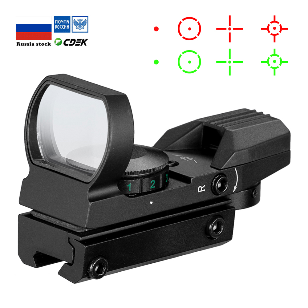 חם 20mm Rail Riflescope ציד אופטיקה הולוגרפי Red Dot Sight רפלקס 4 Reticle טקטי היקף Collimator Sight