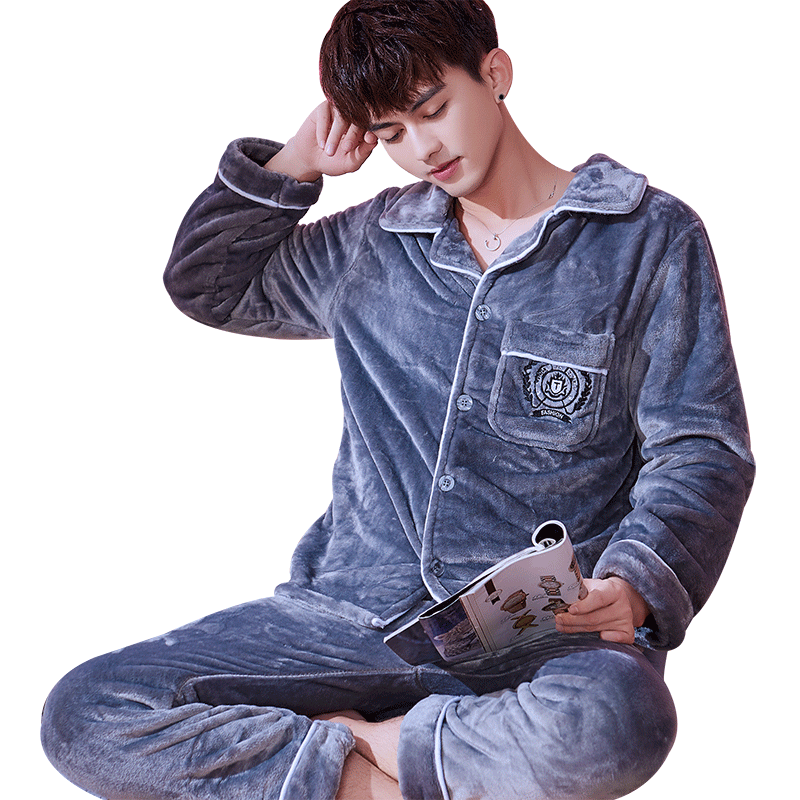 H5883 Grey Men Pajamas Set Thickened Flannel Home Clothes Suit Autumn Winter Long Sleeve Middle-aged Young Leisure Sleepwear