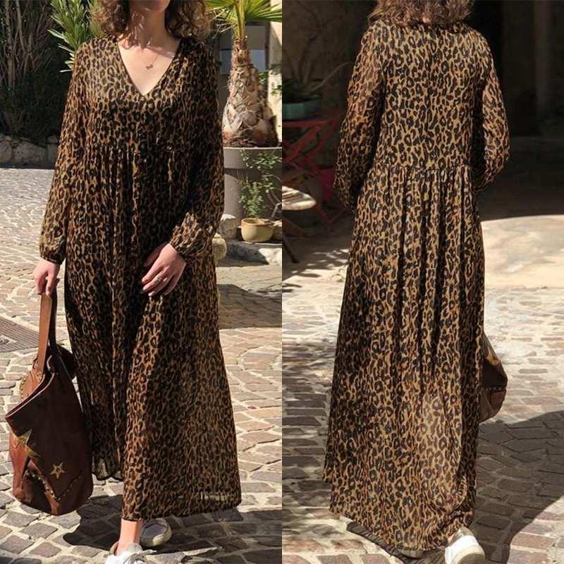 Fashion Leopard Print Maxi Dress Women's Summer Sundress ZANZEA 2020 Sexy V Neck Beach Long Vestidos Female High Waist Robe 5XL