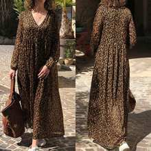 Fashion Leopard Print Maxi Dress Women's Summer Sundress ZANZEA 2020 Sexy V Neck Beach Long Vestidos