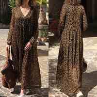 Mode imprimé léopard Robe Maxi femmes d'été Robe d'été ZANZEA 2020 Sexy col en V plage longue Vestidos femme taille haute Robe 5XL