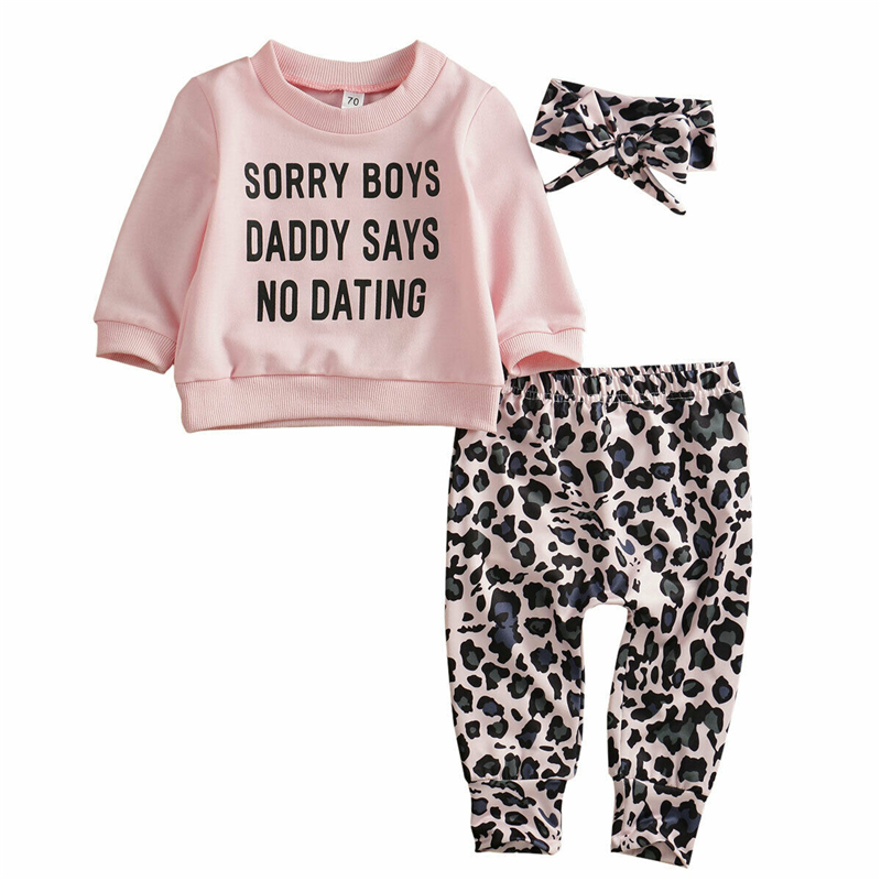 Newborn Baby Girl Fashion Clothes Sets Letter Printed Tops Leopard Print Pants Headband 3PCS Fashion Outfit Clothes 0-24M