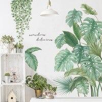 Pegatinas de pared con hojas de plantas tropicales de estilo nórdico, vinilo ecológico, Póster Artístico con calcomanías para decoración del hogar, sala de estar y dormitorio