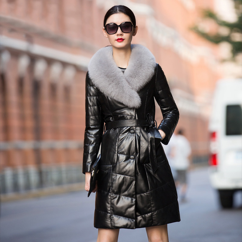 Winter Classic Sheepskin Fur Women Fox Wool Leather Down Coat Plus Size Black Warm Thick Fashion Sashes Genuine Leather Coats