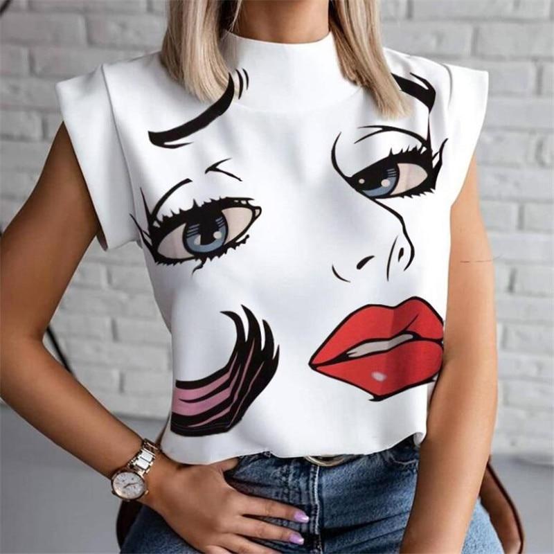 Frauen Lippen Gedruckt T Shirt Damen Casual Stand Neck Tee Tops Kurzarm Streetwear Sommer Floral Plus Größe Pullover T-shirts