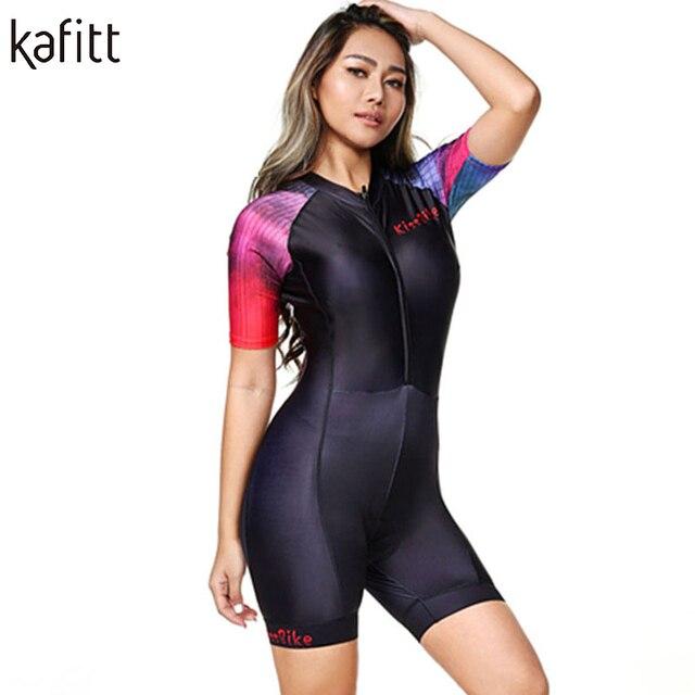 Kafitt camisa de ciclismo das mulheres macacão pouco macaco ciclismo ciclismo ciclismo manga curta camisa terno esportes uniforme 4