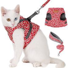 Воздухопроницаемая сетчатая шлейка для кошек жилет и поводок