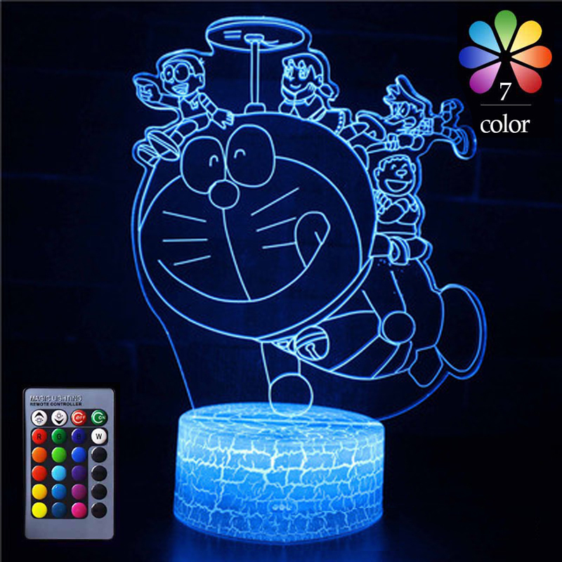 Colorful 3D Lamp Illusion Night Light Remote Or Touch Control 16 Colors LED Table Lamp Cartoon Doraemon Night Lamp Home Decor