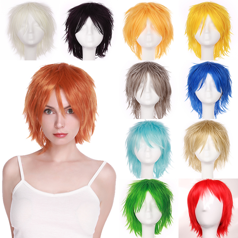 BENIHAIR Synthetic Wig Cosplay Wig White Red Green Blue Pink Yellow Wig Short Layer Wig Fake Hair Extension Men Women Party Wig