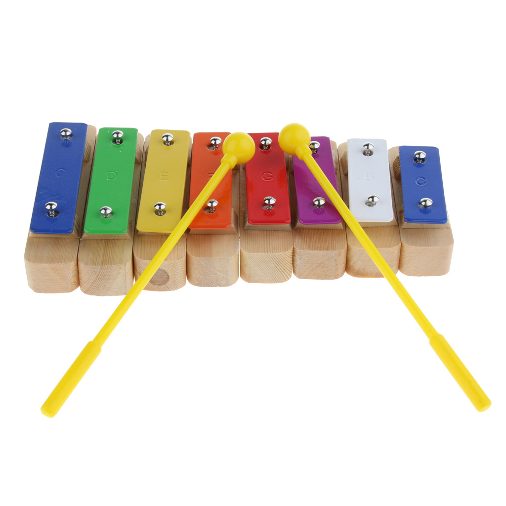 8 Notes Xylophone Sound Block Glockenspiel Hand Percussion Children Preschool Toys Gift