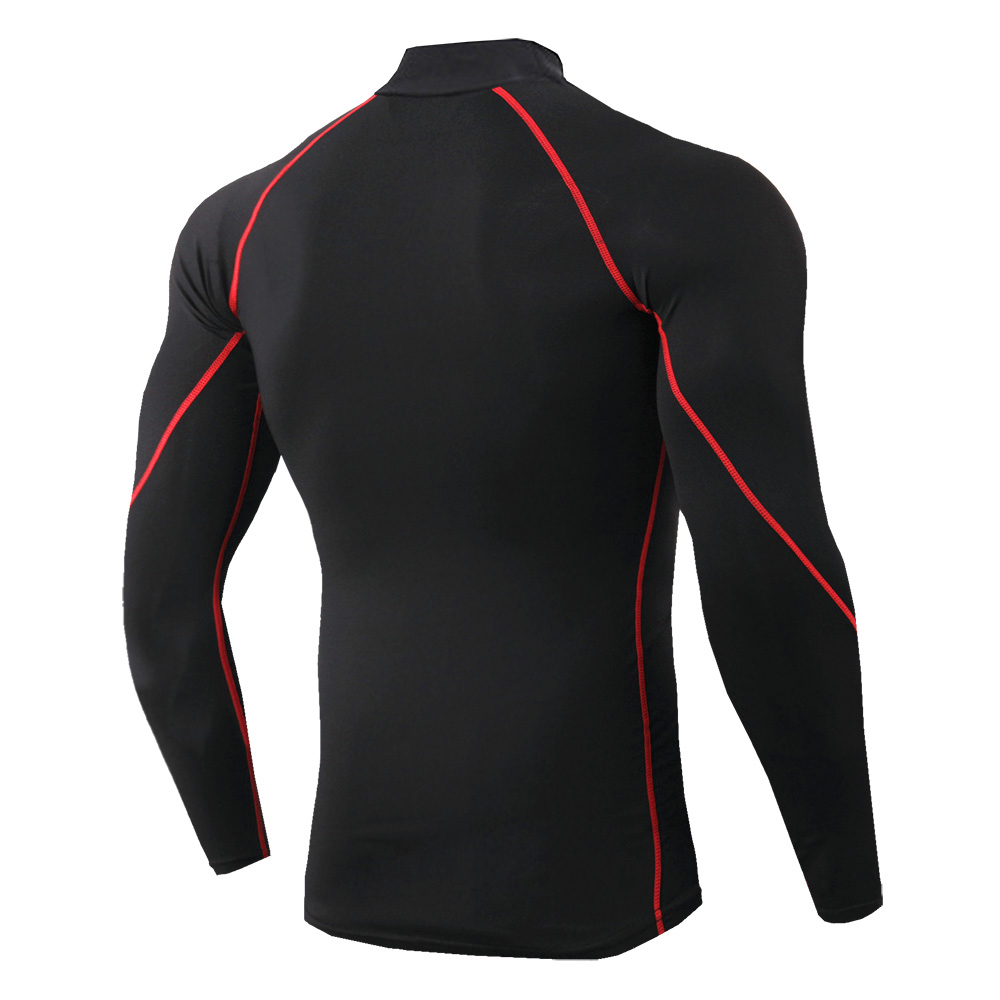 running - Men's High Neck Long Sleeve Shirt Solid Color Sports Tight and Quick Dry Shirt Riding Running Compression Fitness Shirt