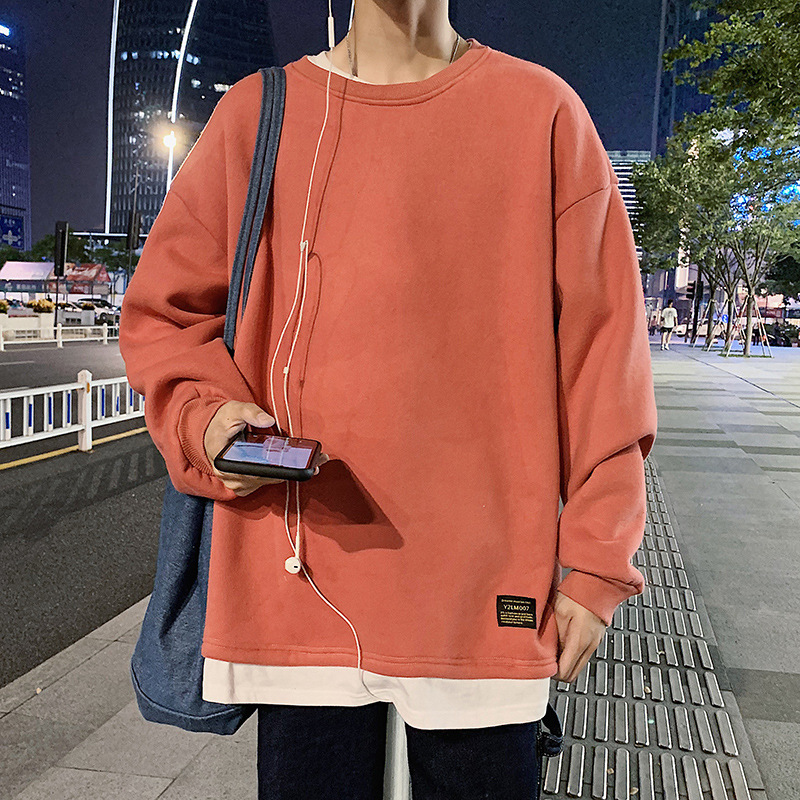 2020 Autumn Casual Sports Mock Two-Piece T-shirt Pullover Hoody Male Loose Crew Neck Long-sleeved Sweater Base Shirt Male 4