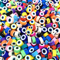 30pcs10mm Evil Eye Design Polymer Clay Spacer Loose Beads for Jewelry Making DIY Bracelet Accessories