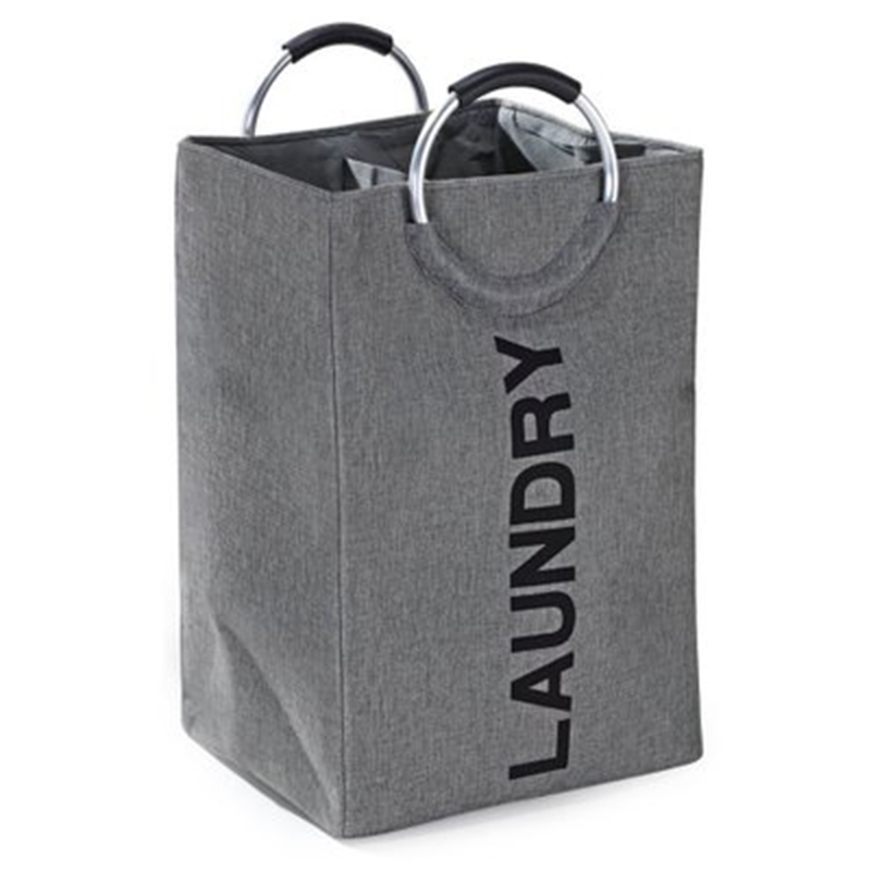 HOT Laundry Bag Imitation Linen Double Storage Basket Storage Bag Solid Color Shopping Bag Dirty Clothes Bag Household Items