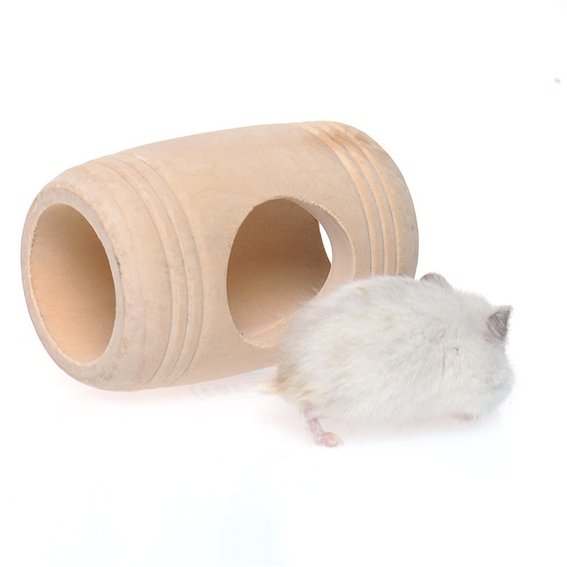 Small Animal Wooden Bed House Cage Molar Shaped Pet Rat Hamster Mouse Wood Toy