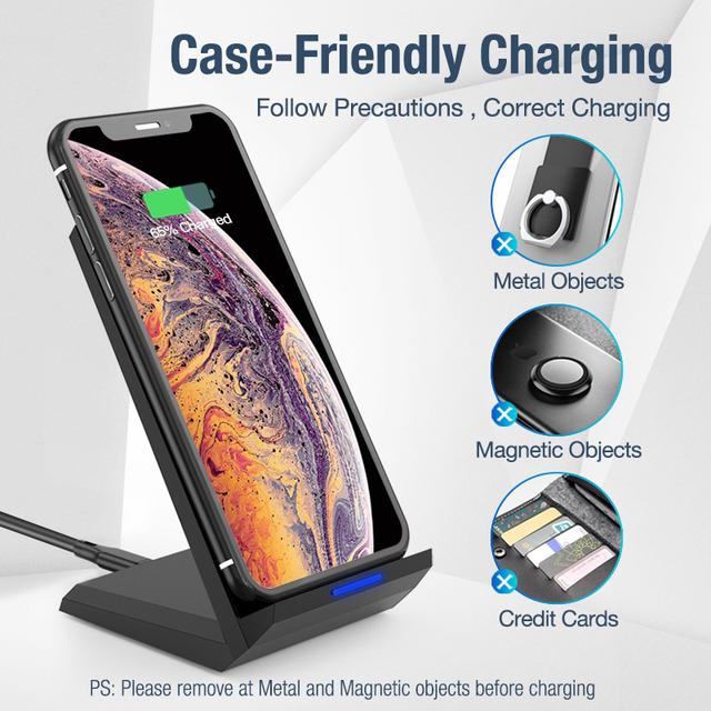 Posugear 15 Вт Qi Беспроводная зарядная подставка для iPhone 11 pro 8 X XS samsung s10 s9 s8 быстрая Беспроводная зарядная станция зарядное устройство для телефона