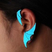 1PC Men Women Glow Wing shape Ear Cuff clip Luminous No Piercing Earring Jewelry Classic stainless steel personality Clip