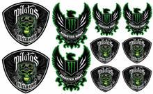 Monster pilotos conjunto 10 pc design etiqueta do carro de corrida capacete da motocicleta decalque a4 q3 decoração automóvel