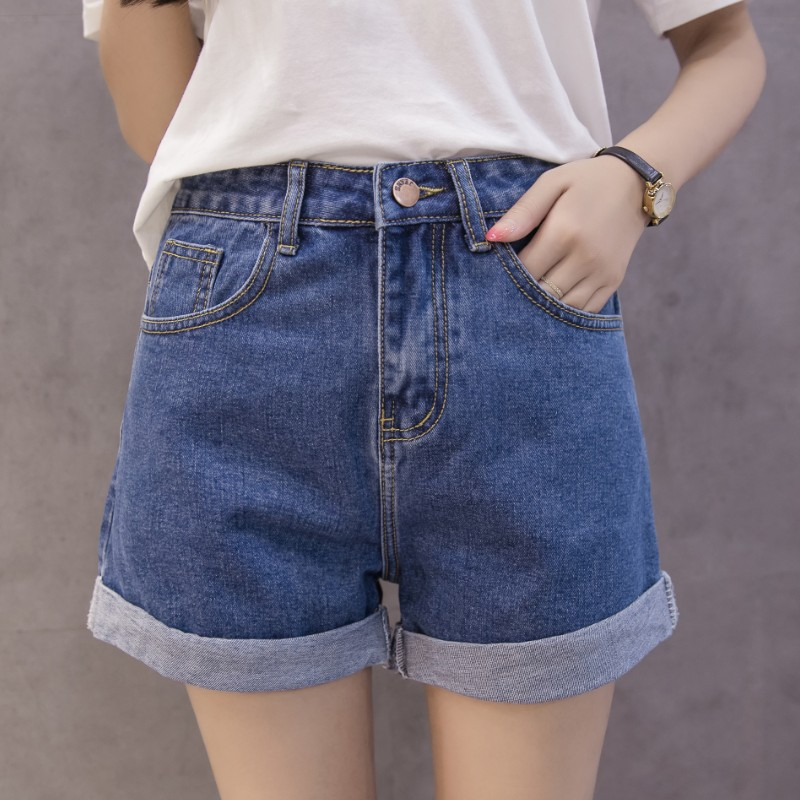 Denim Shorts Female Summer 2019 New Style High-waisted Korean-style CHIC Students Wide-Leg Shorts BF Versatile Loose-Fit Super S