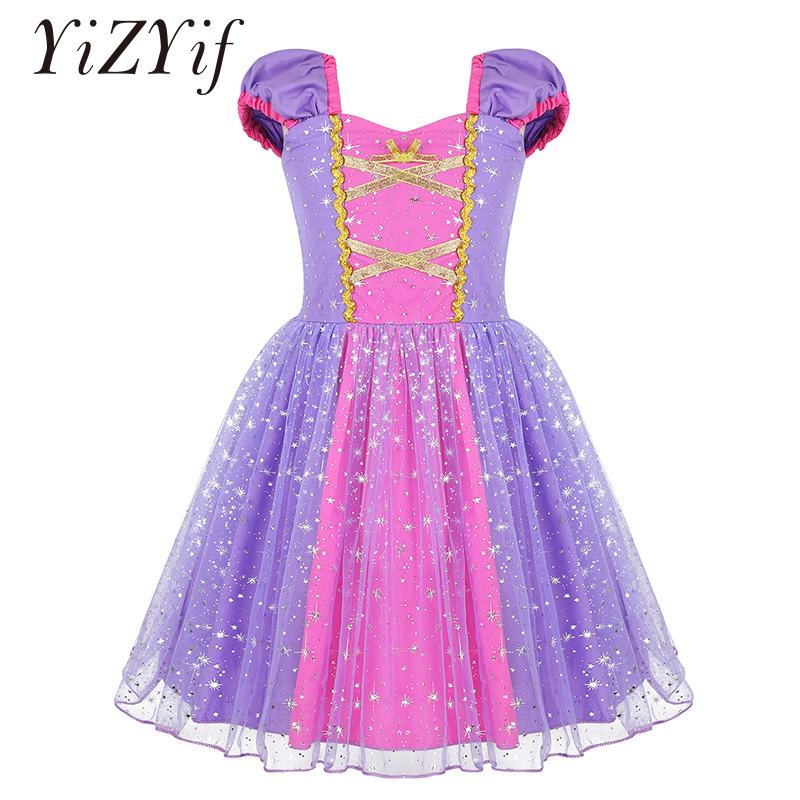 Kids Girls Sparkly Snowflake Pattern Printed Fairy Princess Fancy Dress For Birthday Party Halloween Christmas Cosplay Costume