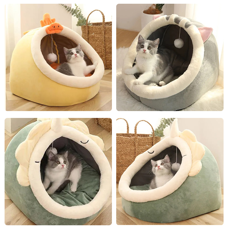 Sweet Cat Bed Warm Pet Basket Cozy Kitten Lounger Cushion Cat House Tent Very Soft Small Dog Mat Bag For Washable Cave Cats Beds 5