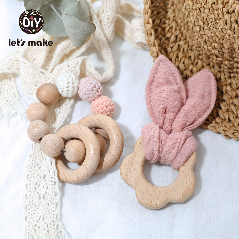 Let's Make Baby Teether Toys BPA Free 2pcs/set Bracelet Beech Ring Wholesale Bunny Ear Animal Cartoon Flower Rodent Teether