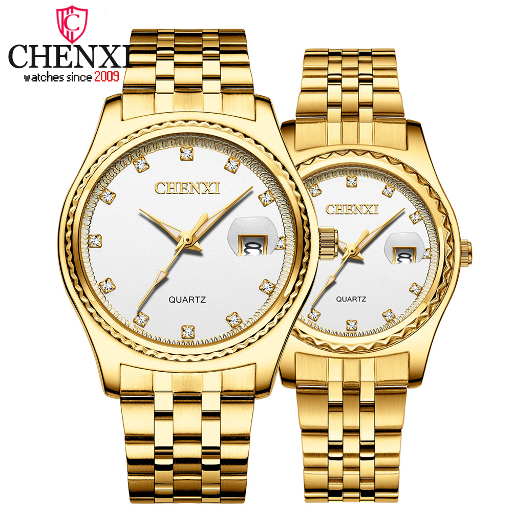 CHENXI Watch New Top Luxury Brand Men Women Quartz Wrist Watch Lovers Stainless Steel Waterproof Calendar Watches Couples Clock