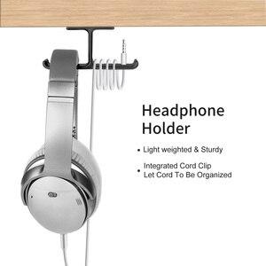 Image 4 - Vococal אוזניות כפולה קולב עמיד אלומיניום אוזניות וו בעל קל להתקין 2 ב 1 אוזניות הר תחת מעמד שולחן מדף
