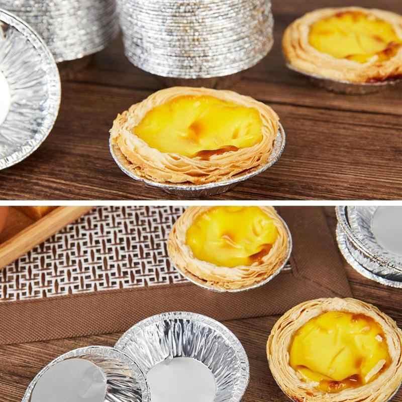 "100Pcs Round Aluminum 3/"" Foil Tart Pan Disposable Mini Pot Pie Bake Plate Tins"