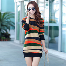 Plus Thick Velvet Women Dress 2019 Autumn Winter Stripped Sweater Long Sleeve packed Hip Lady Casual Warm Tops C396