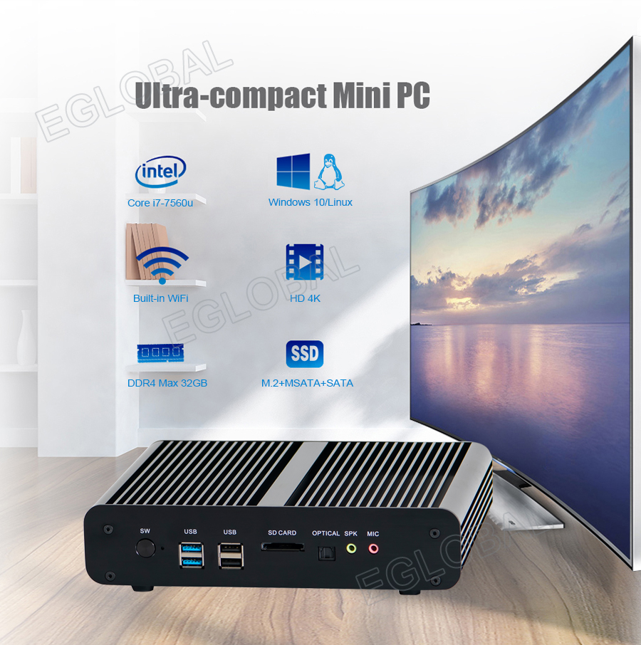 Eglobal Fanless Mini Computer Intel Core I7 7560U Low Power Portable HTPC VGA HDMI Dual Lan Support 2*DDR4 Barebone 4K HD Player