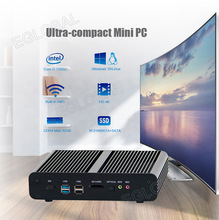 Eglobal Fanless Mini computer intel core i7 7560U low power portable HTPC VGA HDMI Dual Lan support 2*DDR4 Barebone 4K HD Player