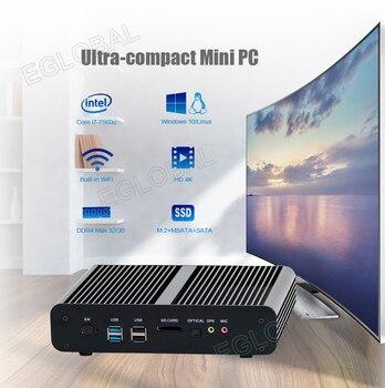 Eglobal Fanless Mini computer intel core i7 7560U low power portable HTPC VGA HDMI Dual Lan support 2*DDR4 Barebone 4K HD Player fanless mini itx pc nuc i7 6500u i7 6600u8 16g 1t ssd 1t hdd dual core hd graphics 520 dp hdmi 4k fanless barebone pc nc360