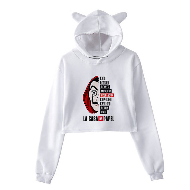 New Money Heist Hoodies The House Of Paper La Casa De Papel Vogue Casual Dali Mask Casa De Papel Women Cropped Top Sweatshirt 4
