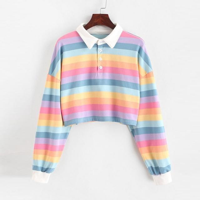 QRWR 2020 Polo Shirt Women Sweatshirt Long Sleeve Rainbow Color Ladies Hoodies With Button Striped Korean Style Sweatshirt Women 4