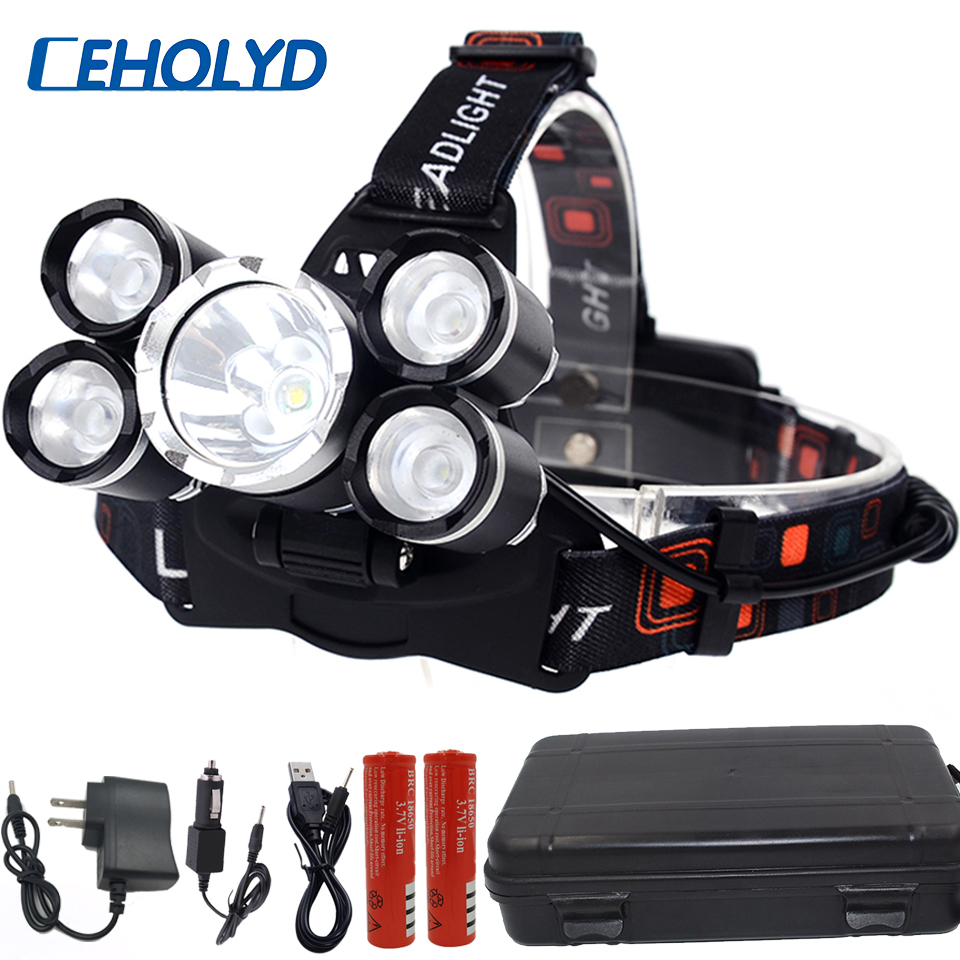 LED Headlight Hunt Outdoor Headlamp CREE XML 3/5 LED T6 Head Lamp Flashlight Torchhead Light With 18650 Battery AC/DC Charger