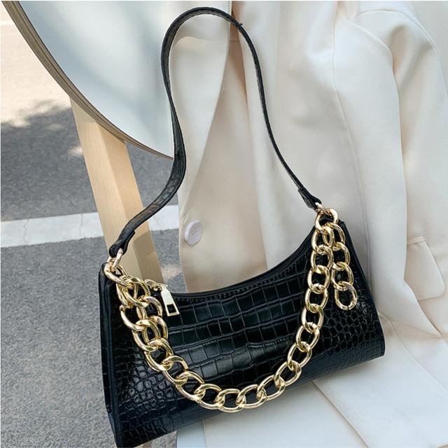Fashion All-match Women's Shoulder Bag Crocodile Pattern Underarm Bag Temperament Chain Handbag Trend Zipper Bags for Women 2021 5
