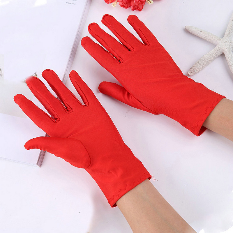 1Pair Solid Color Spandex Performance Gloves Sunscreen High Elasticity Etiquette Thin Short Gloves For Women Men Mittens Guantes