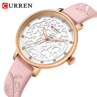 CURREN Brand Ladies Watch Pink Leather Wristwatch Relogio Feminino With Rhinestone Women's Watch Fashion Luxury Quartz Watch Gif