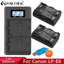 LP E6 LPE6 LP E6 E6N סוללה + LCD כפולה מטען עבור Canon EOS 5DS R 5D Mark II 5D סימן III 6D 7D 60D 60Da 70D 80D XC10 מצלמה