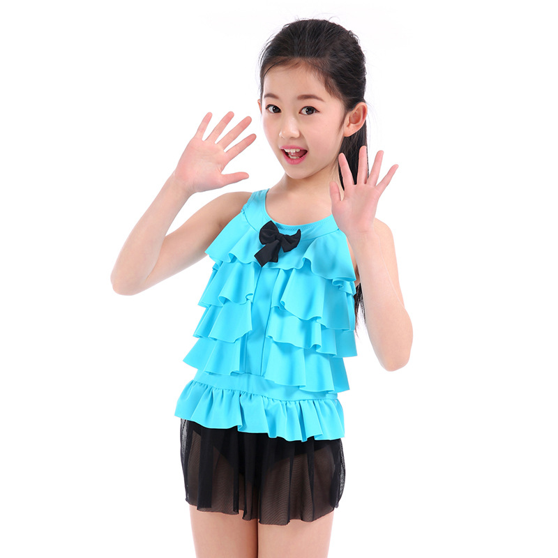 Drop Love For Water New Style Big Boy Multilayer Flounced Tour Bathing Suit Korean-style Gauze Small Clear Girls KID'S Swimwear