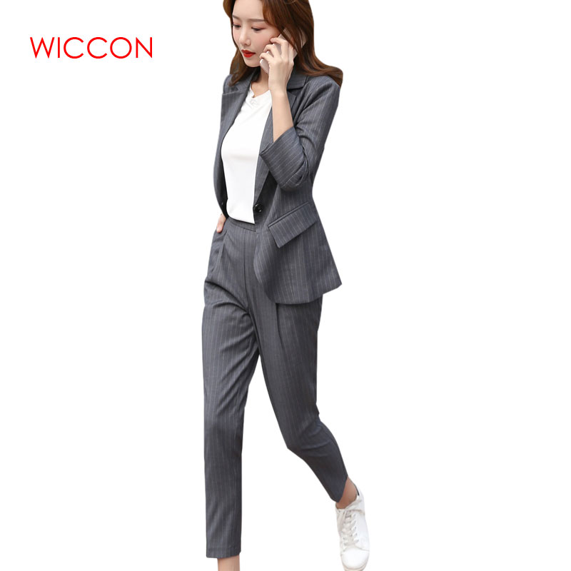 Women Pant Suit New Retro Single Button Striped Small Spring Summer Casual Wear Suit Female Trend Long Sleeve Turn-down Collar