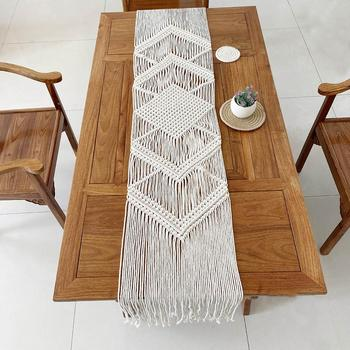 34x200CM Hollow Out Macrame Table Runner Boho Wedding Decoration Nordic Style Boho Table Runner With Tassels Drop Shipping