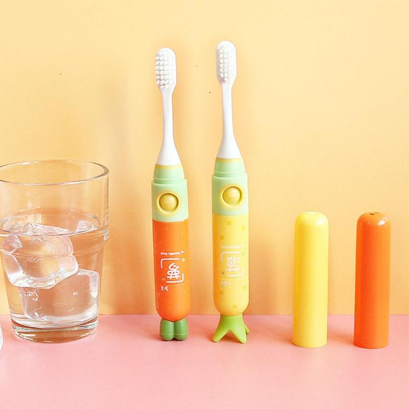 Cute Cartoon Pattern Electric Toothbrush Button Type Children Kids Acoustic Wave Soft Brush Personal Care Supplies