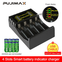 PUJIMAX – chargeur de batterie électrique à 4 emplacements, rapide, Intelligent, USB indicateur LED, pour batterie Rechargeable AA/AAA Ni-MH/ni-cd